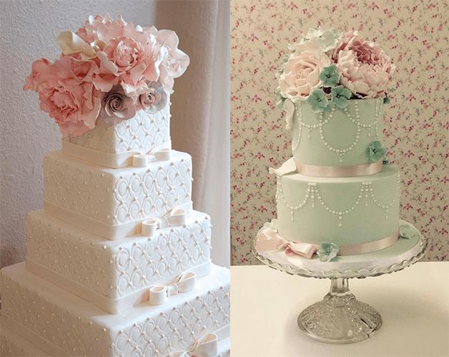Свадебные торты с цвеиами,с квадратными ярусами и круглыми