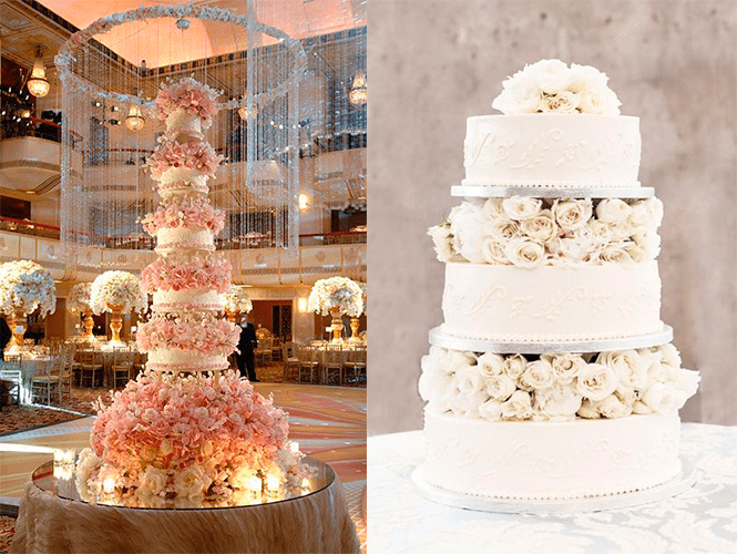 Свадебные торты с белыми и розовыми цветами