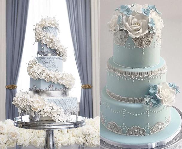 Свадебные торты голубого цвета с цветами