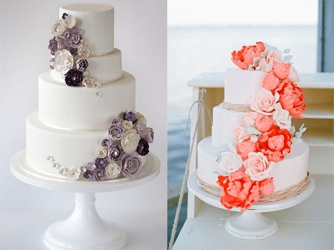 Свадебные торты с фиолетовыми и оранжевыми цветами