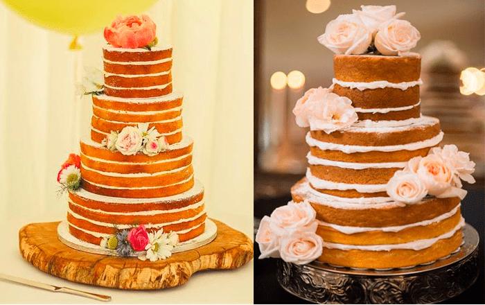 «Голые» свадебные торты с цветами