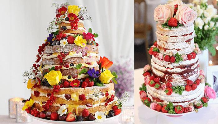 «Голые» свадебные тортыс цветами и клубникой