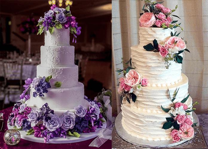 Свадебные торты розовыми и фиолетовыми большими цветами