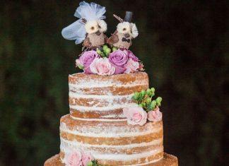 Свадебный торт из коржей с цветами и птицами на верху