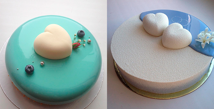 2 свадебных торта с серцами