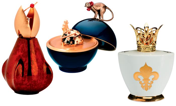 Ароматические лампы в фигурных флаконах с золотыми колпачками