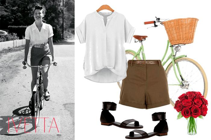 Ава Гарднер едет на велосипеде в шортах с завышенной талией и рубашке