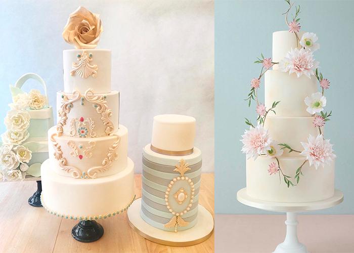 Ярусные белые свадебные торты с цветами