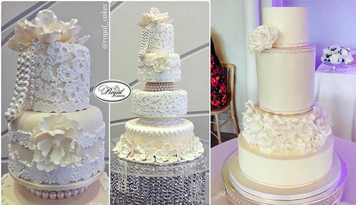 Ярусные белые свадебные торты с цветами и бусами