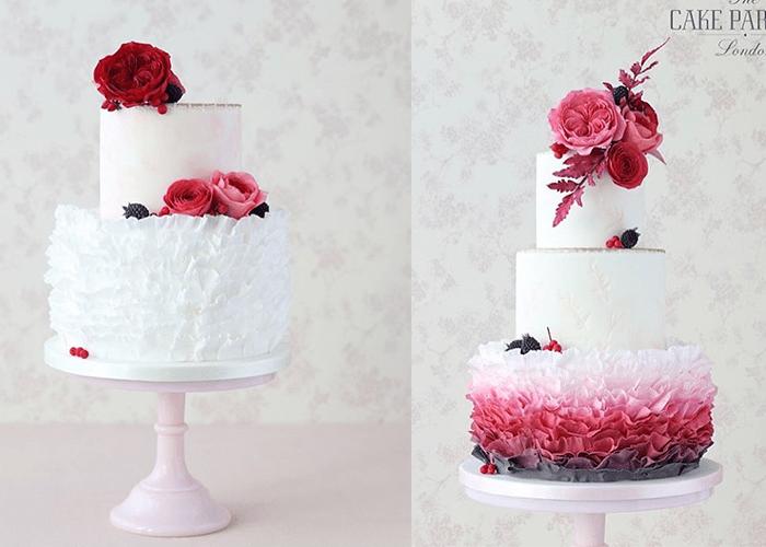 Ярусные белые свадебные торты с розовыми и красными цветами