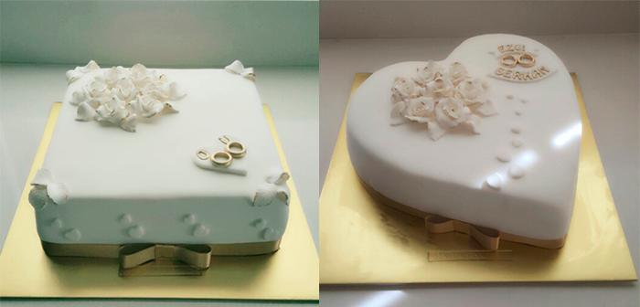 2 белых свадебных торта на золотых подставках