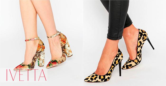 Босоножки и туфли на женских ножках с ярким принтом