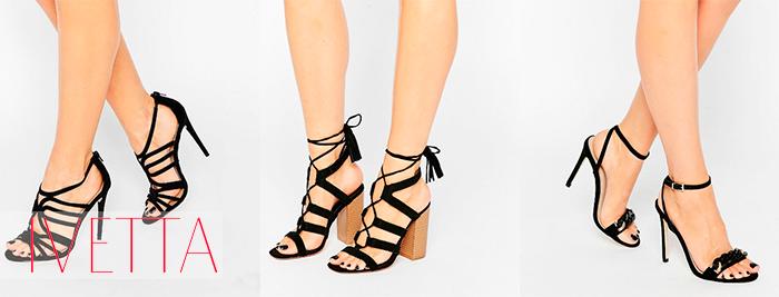 Черные босоножки на женских ножках