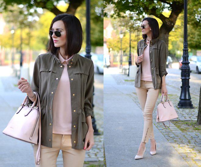 девушка в бежевых брюках и с розовой сумкой