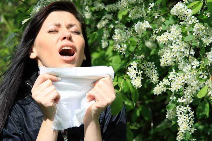 Девушка чихает около цветов