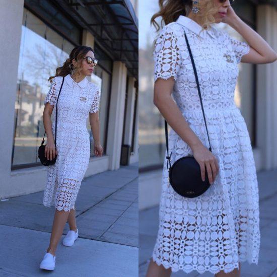 Девушка в белом платье и в белых слипонах