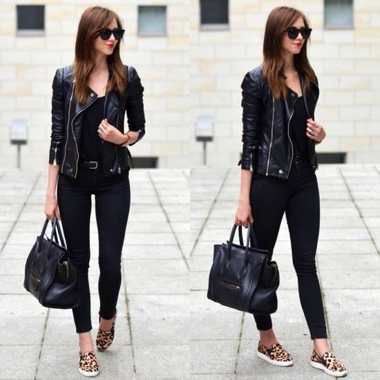 Девушка в черной одежде и тигровых слипонах