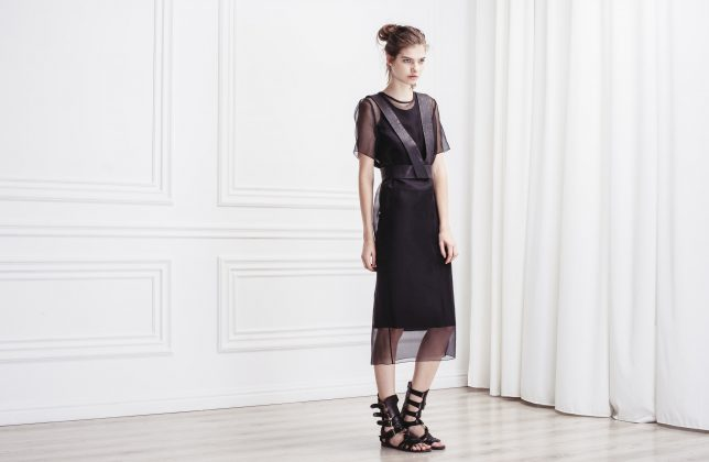 Девушка в черном платье с сеткой