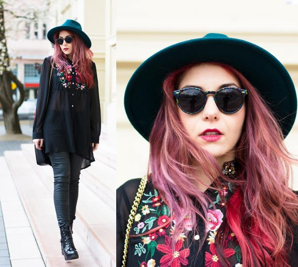 Девушка в черных брюках,шляпе и в черной вышиванке