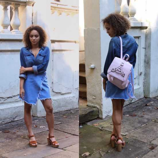 Девушка в джинсовой юбке и рубашке с розовым рюкзаком