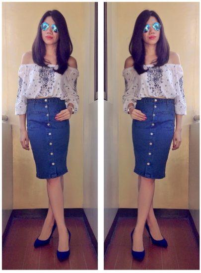 Девушка в джинсово юбке на пуговицах и кофте с открытыми плечами