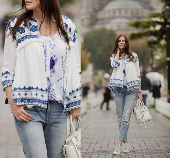 девушка в джинсах и в вышиванке
