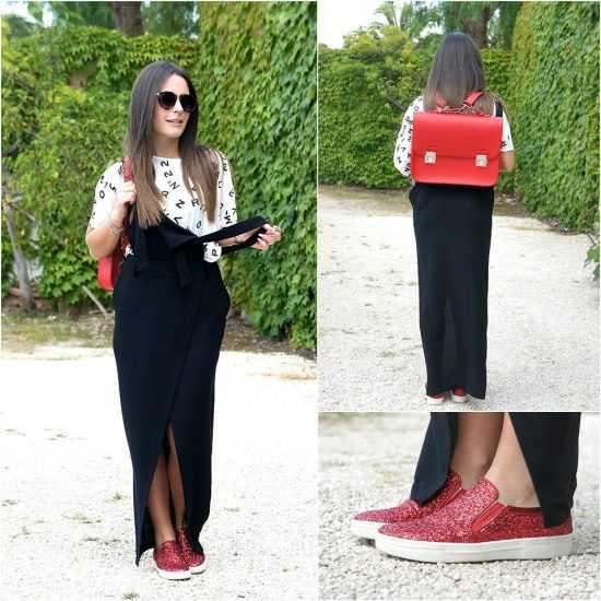 Девушка в красных слипонах и с красным портфелем