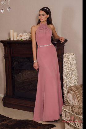 Девушка в розовом платье в греческом стиле в ремешком из камней