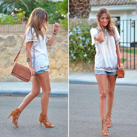 Девушка в шортах,лоджочках на шнурках и в вышиванке