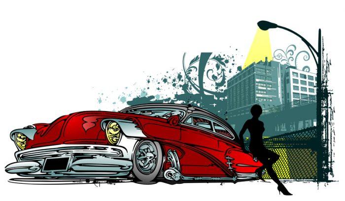 Девушка в городе около красной машины