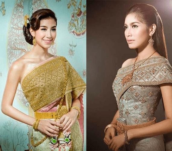 Девушки в пол роста в свадебных платьях в тайском стиле