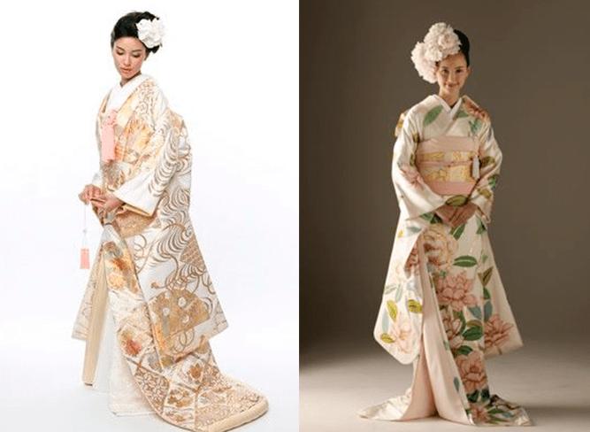 Девушки в свадебном платея японского стиля