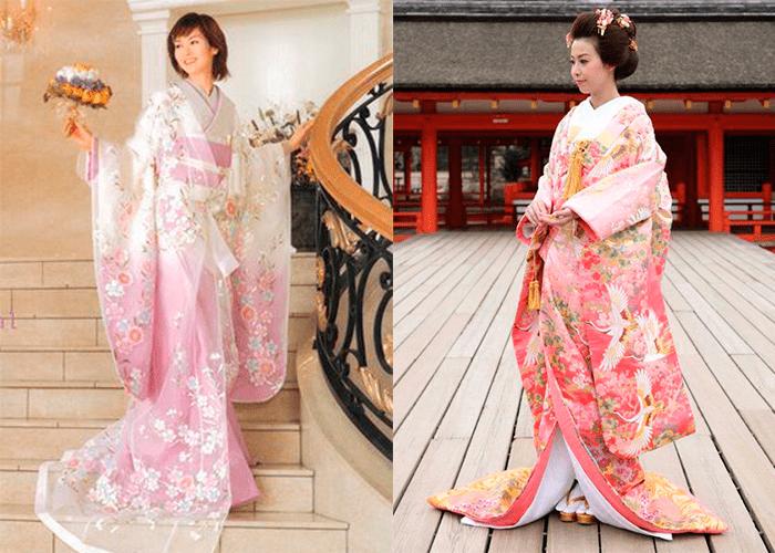 Девушки в свадебном платье розового оттенка японского стиля
