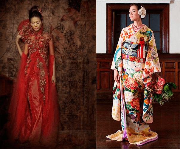 Девушки в свадебном платье с красным оттенком японского стиля