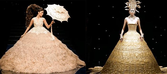 Девушки в свадебном платье золотого отттенка, в китайском стиле