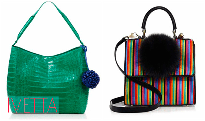 Две женские сумки с помпонами
