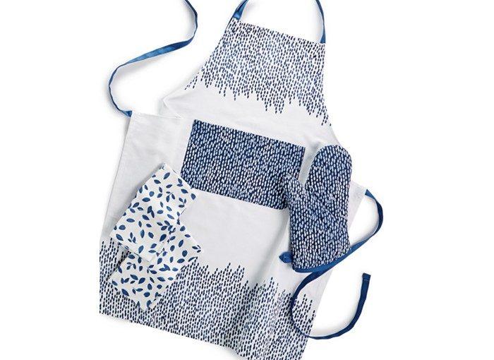 Фартук для кухни с рукавицей белый с синим
