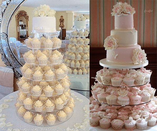 Свадебный торт с цветами и с капкейками