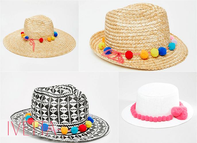 Летние шляпы с помпонами