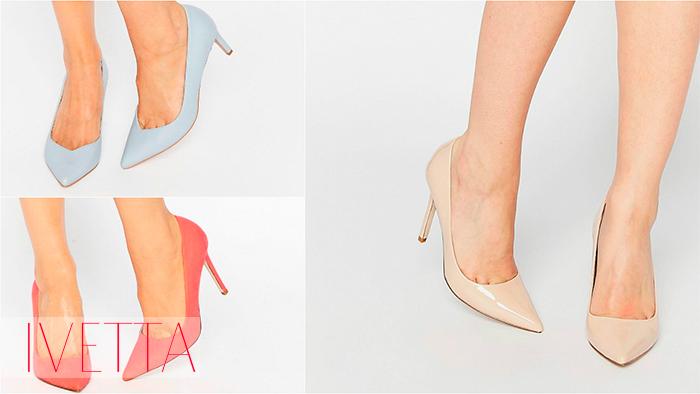 Лодочки пастельных оттенков на женских ножках