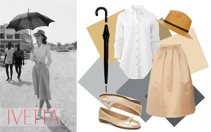 Одри Хепберн в юбке солнцеклеш хлопковой белой рубашке идет под зонтом