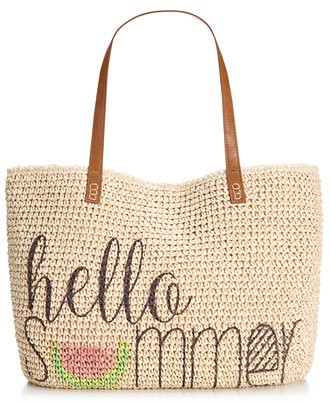 Пляжная плетенная сумка на кожаных ручках
