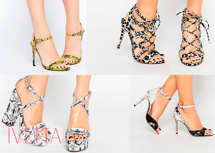 Босоножки на женских ножках с ярким принтом
