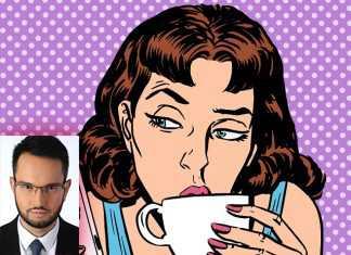 Рисунок девушки пьюшей чай перед телефоном