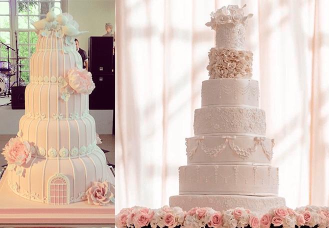 Ярусные розовые свадебные торты с цветами