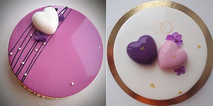 2 свадебных торта с сердецками