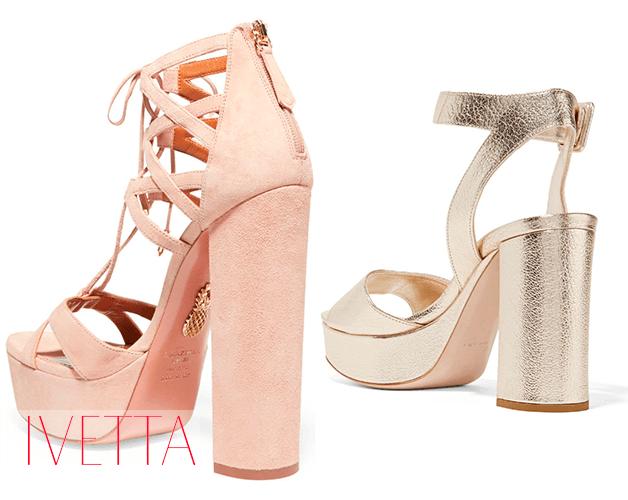 Золотые и розовые босоножки на толстом квадратном каблуке