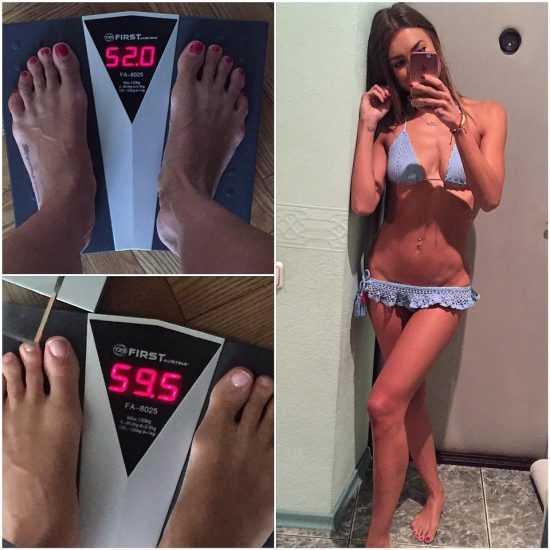 Первая победительница шоу «Холостяк» Александра Шульгина в купальнике делает фото себя и весов