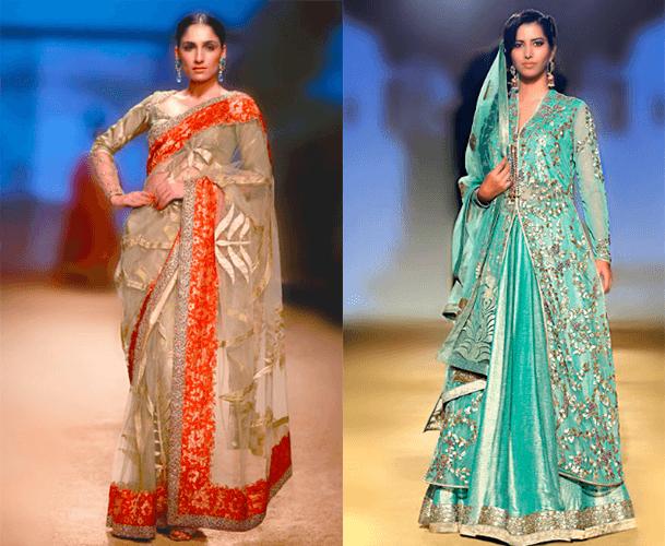 Свадебные платья в индийском стиле в розовых и бирюзовых оттенках