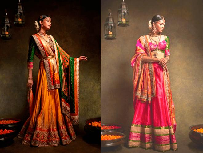 Свадебные платья в индийском стиле в оранжевых и розовых оттенках